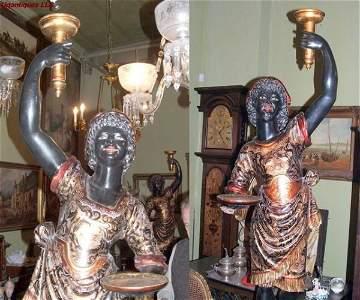 3998: Venetian polychrome Blackamoors torcheres