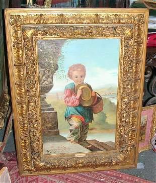 Italian Signed Oil on canvas boy