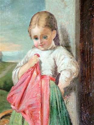 Italian Signed Oil on canvas Girl , Pair