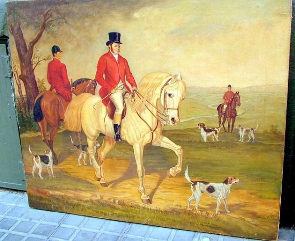 1242: English hunting scape signed by Steel
