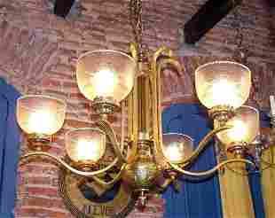 6 Lights Bronze Chandelier crystal shades