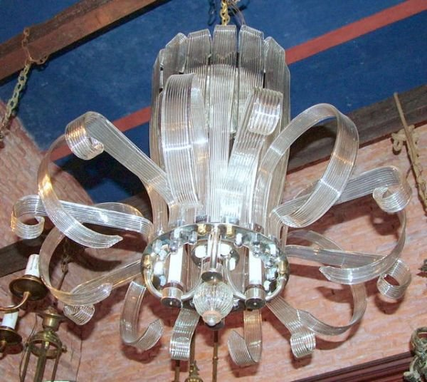 1234: Large 50´s chandelier with fluorecent   tubes