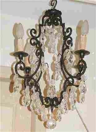 Antique Wrought iron 4 lights chandelier