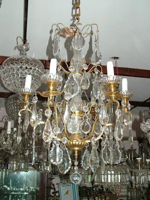1233: Versailles Bronze and crystal Chandelier 6L