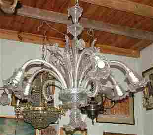 Large Murano crystal chandelier 7 lights