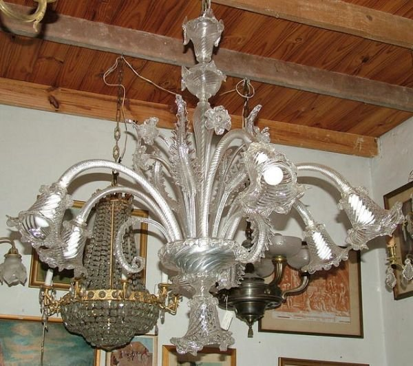 1227: Large Murano crystal chandelier 7 lights