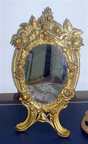 Fine Art Nouveau Bronze table Mirror
