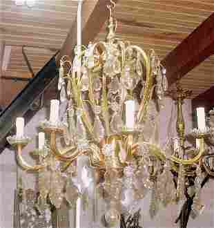 8 Lights French bronze crystal chandelier