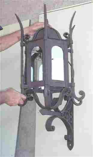 PAIR of Large Iron Lantern for outdoor use