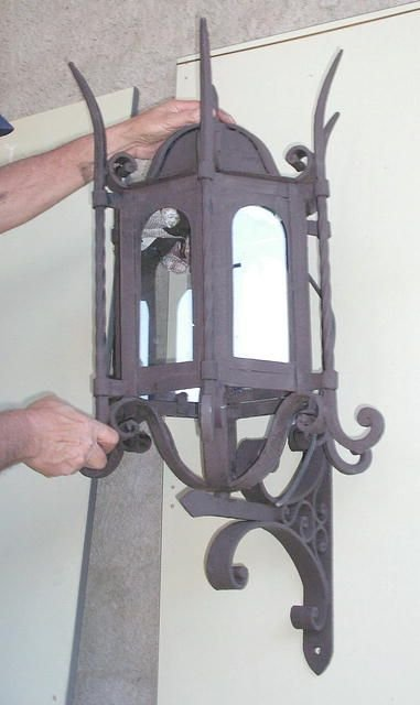 904B: PAIR of Large Iron Lantern for outdoor use