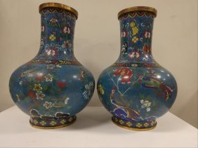 19th C. Bajixiang Cloisonne Enamel Pair Of Hu Jars