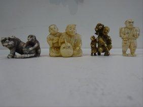 Lot Of Four Carved Ivory Netsukes / Okimonos