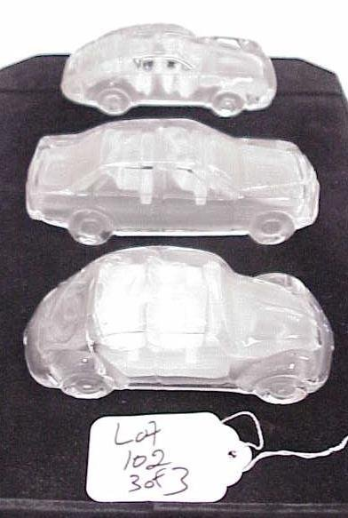 102: LOT OF 3 GLASS CARS NO RESERVE