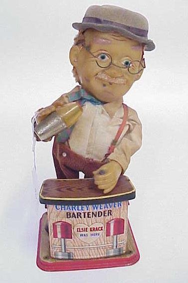 110: TIN MECHANICAL CHARLEY WEAVER TOY BARTENDER NO RES