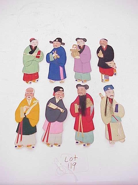 119: LOT OF 8 FLAT SILK ASIAN FIGURES IMMORTALS NO RESE