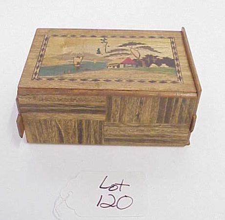 120: WOOD INLAID PUZZLE BOX NO RESERVE