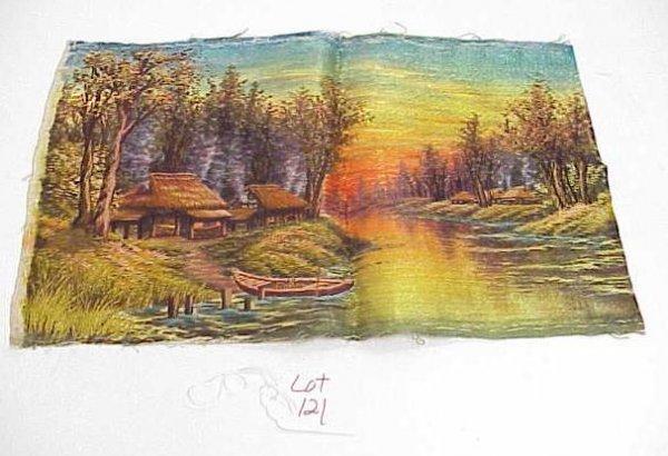 121: VINTAGE SILK ART PIECE HAND STITCHED RIVER FOREST