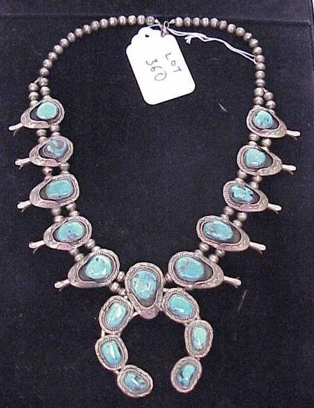 360: VINTAGE NATIVE AMERICAN SQUASH BLOSSOM TURQUOISE