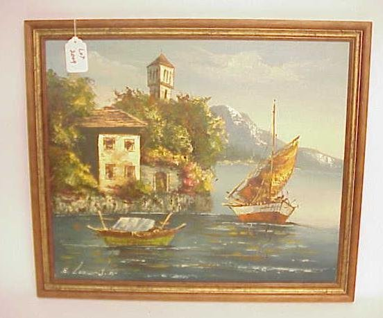 2009: E LEONARD SR OIL ON CANVAS PAINTING NO RESERVE
