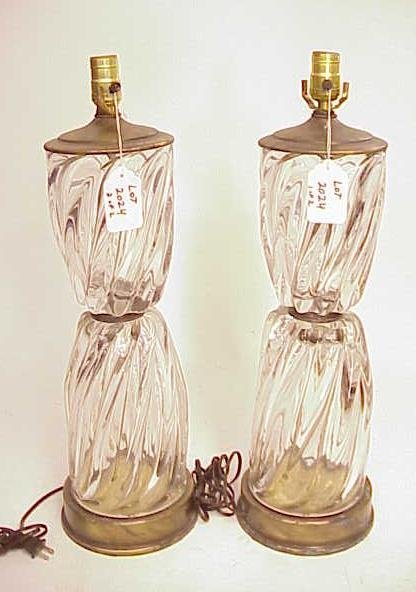 2023: LOT OF 2 VINTAGE HEAVY CRYSTAL ART GLASS LAMPS NR