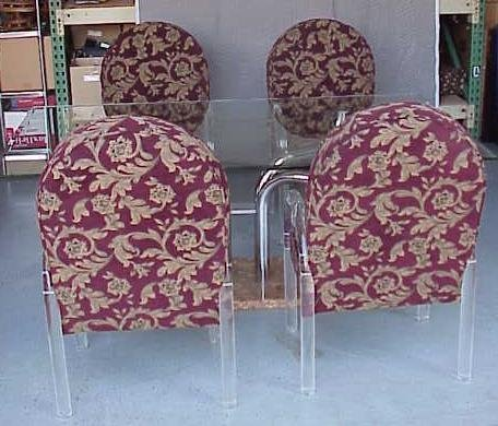 2083: VINTAGE MARBLE DINING SET WITH 4 LUCITE CHAIRS NR