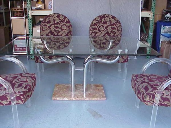 2083: VINTAGE MARBLE DINING SET WITH 4 LUCITE CHAIRS NR - 2