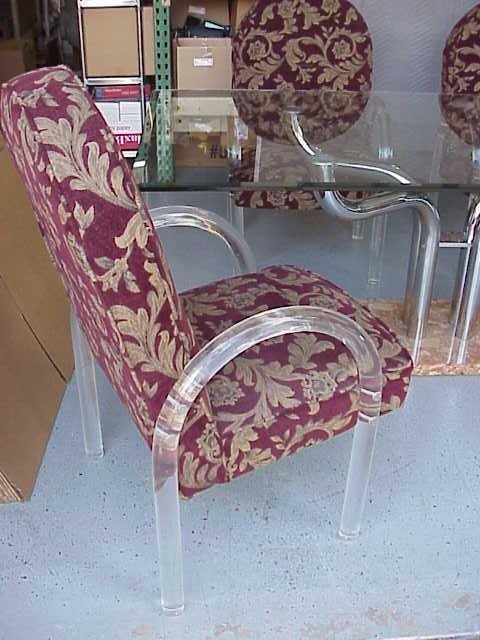 2083: VINTAGE MARBLE DINING SET WITH 4 LUCITE CHAIRS NR - 5