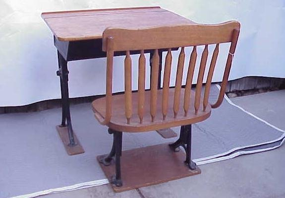 2191: VINTAGE SCHOOL DESK AND BENCH NO RESERVE