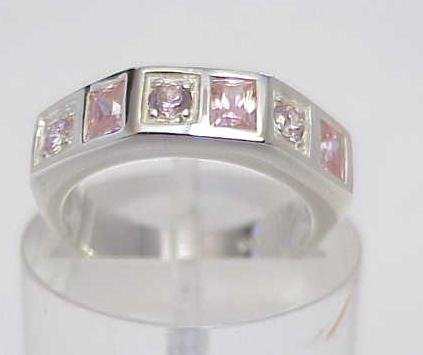 3007: STERLING SILVER SIM PINK SAPPHIRE CZ BAND RING 7