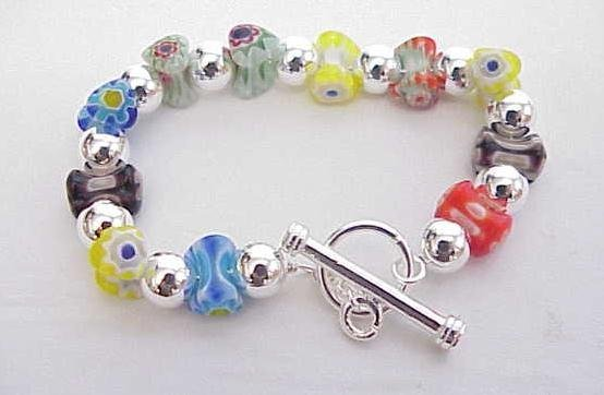 3008: STERLING SILVER MURANO BEADED TOGGLE BRACELET