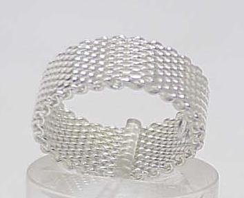 3012: STERLING SILVER HEAVY MESH BAND RING SIZE 7