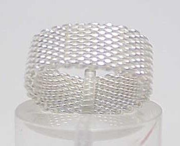 3013: STERLING SILVER HEAVY MESH BAND RING SIZE 5