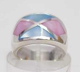 3016: STERLING SILVER INLAYED MOP BAND RING SIZE 7