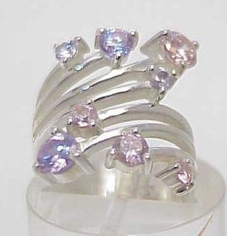 3019: STERLING SILVER PINK & LAVENDER STONE RING SIZE 7