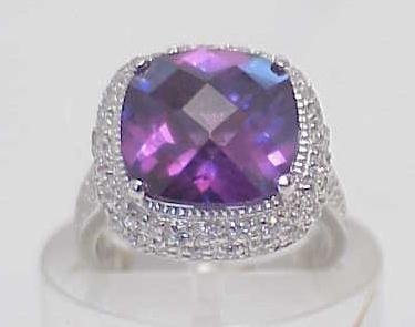3020: STERLING SILVER LARGE SIM AMETHYST CZ RING SIZE 6