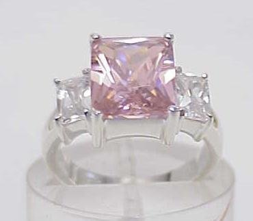3021: STERLING SILVER LARGE SIM PINK DIAMOND CZ RING 7
