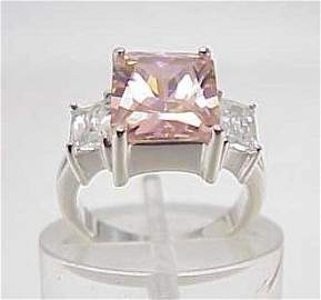 3040: STERLING SILVER SIM DIAMOND & SAPPHIRE RING SIZE