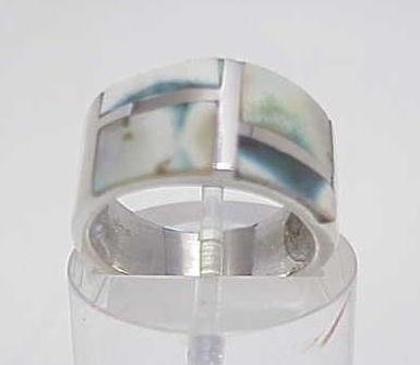 3002A: STERLING SILVER INLAYED MOP BAND RING SIZE 8