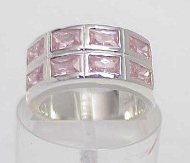 3005A: STERLING SILVER SIM PINK SAPPHIRE CZ BAND RING 7