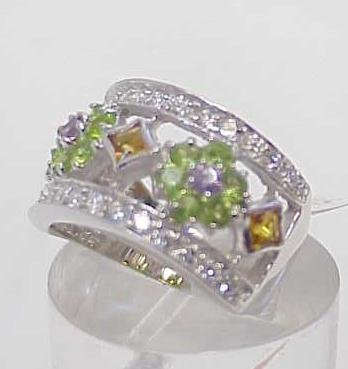 3017A: STERLING SILVER MULTI COLORED STONE RING SIZE 7 - 2