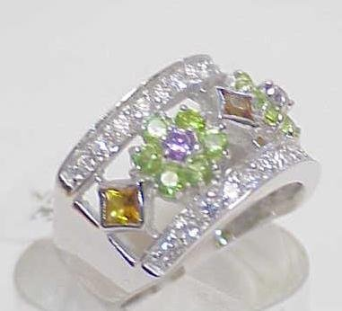 3017A: STERLING SILVER MULTI COLORED STONE RING SIZE 7 - 3