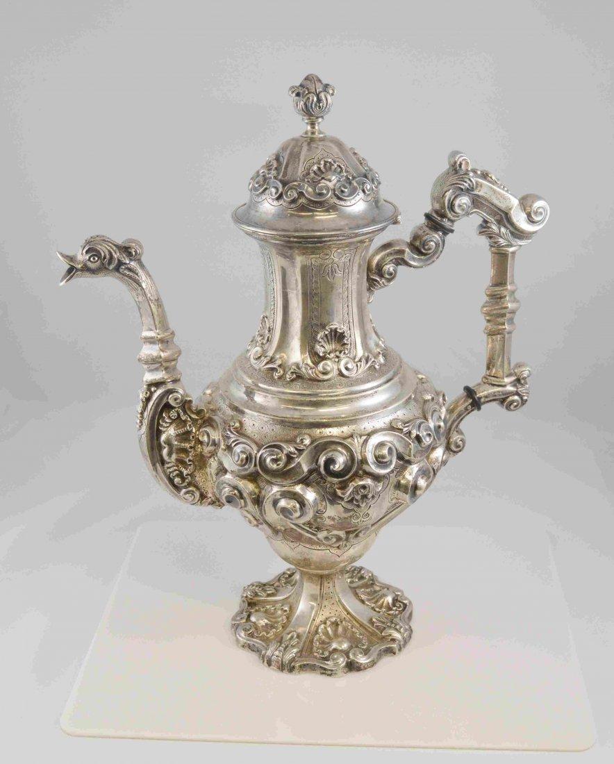 Portuguese Silver Repousse Tea Pot