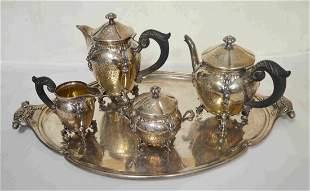 Sterling Silver Art Nouveau Tea Set
