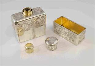 Antique English Sterling Silver Engraved Flask