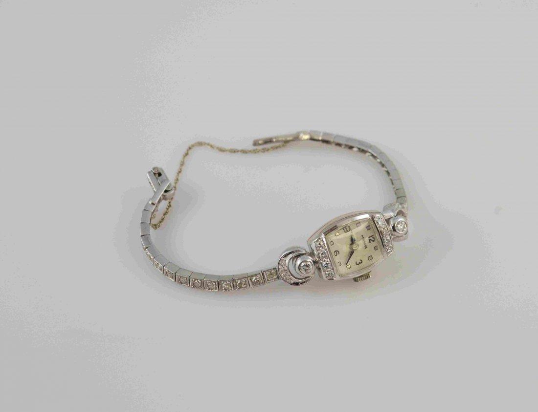 Platinum And Diamond Perraux Laddies Wrist Watch