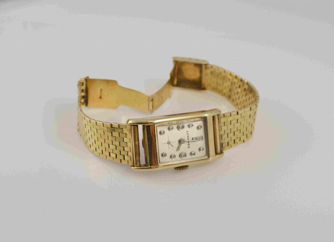 14k Gold Longines Wrist Watch W/ Diamond Dial