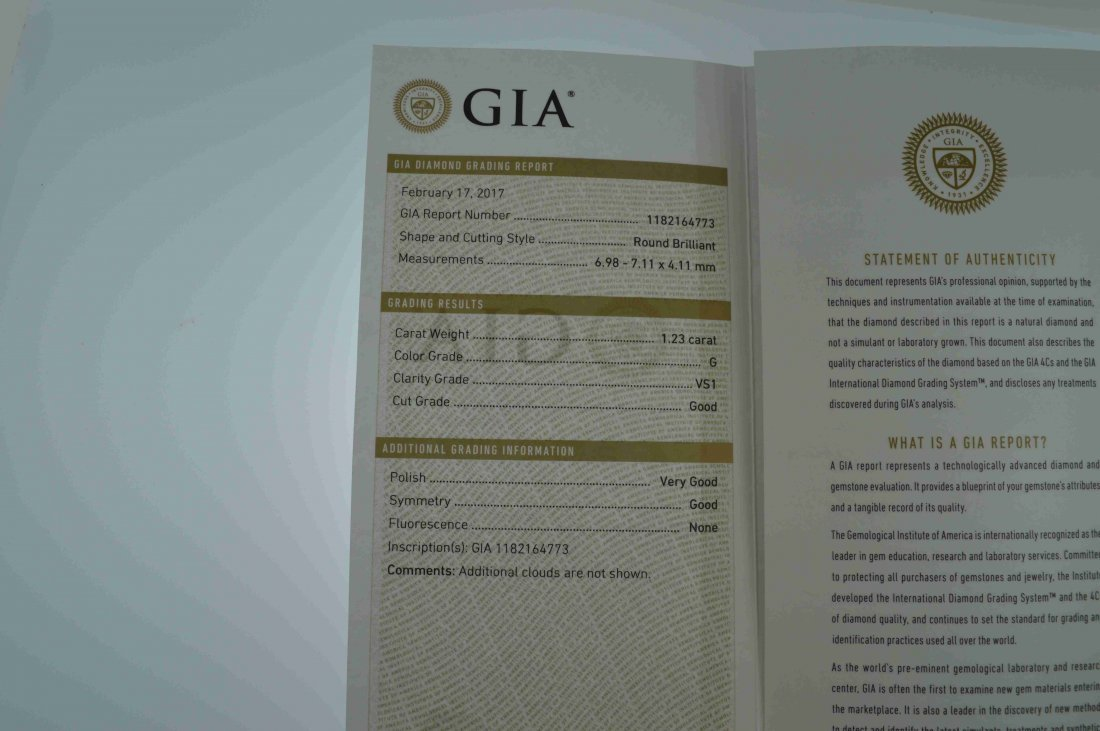 Gia Certified 1.23 ct G VS1 Round Brilliant Diamond