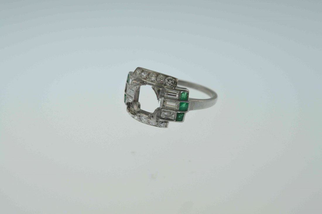 Antique Platinum Diamond, Emerald Setting Item 77 Match