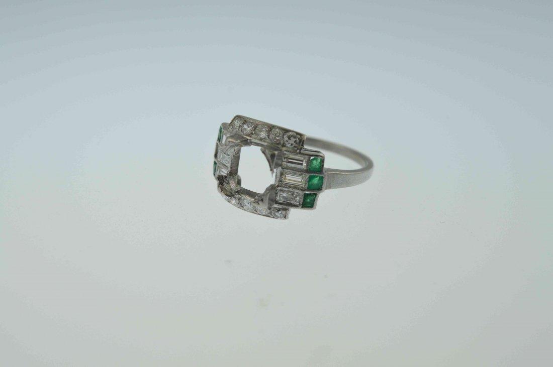Antique Platinum Diamond, Emerald Setting Item 77 Match