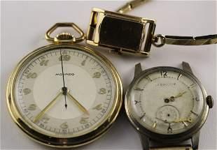 2 LeCoultre Wristwatches w/ Movado Pocket Watch